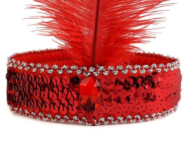 Karnevalová čelenka flitrová s peřím retro