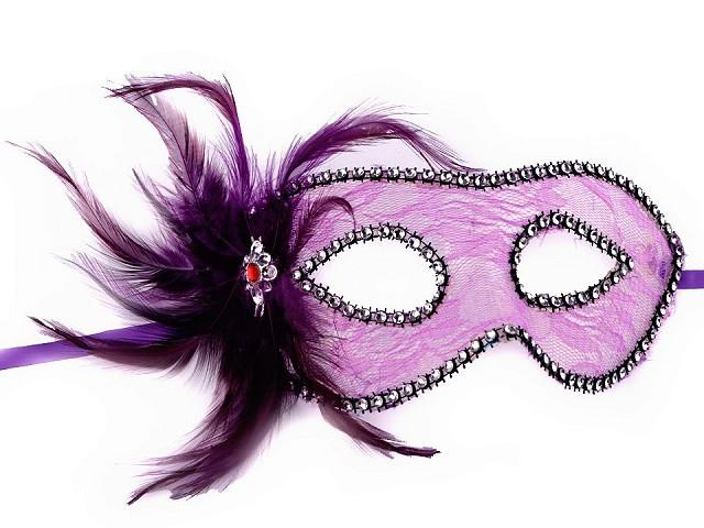 Karnevalová maska - škraboška čipka s perím