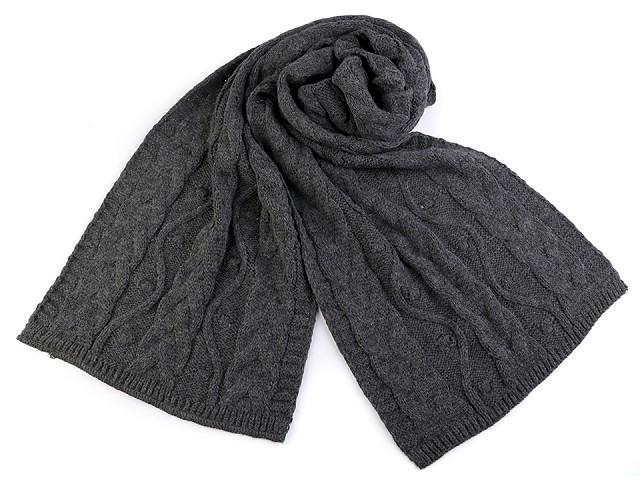 Pletený zimný šál s vrkočmi