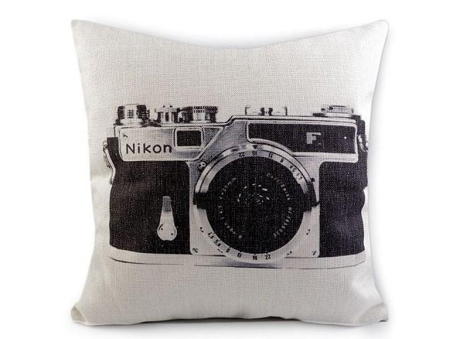 Povlak na polštář retro - fotoaparát, kolo 43x43 cm