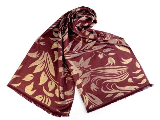 Šatka / šál s lurexom so vzorom listov 70x175 cm