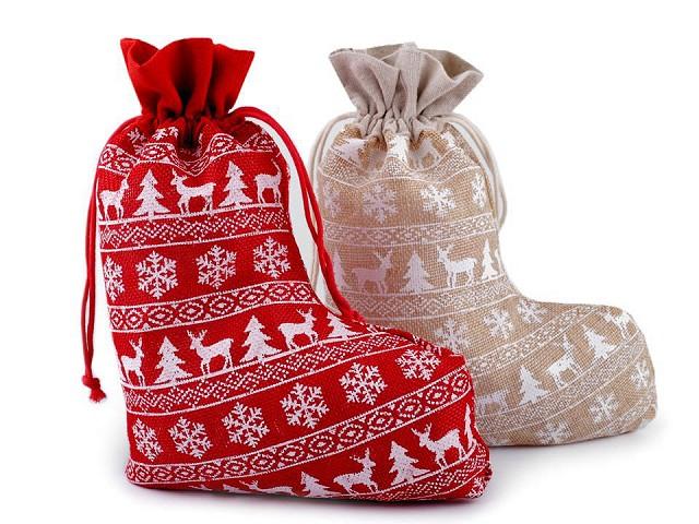 Mikulášska / vianočná pančucha 20x27 cm imitácia juty