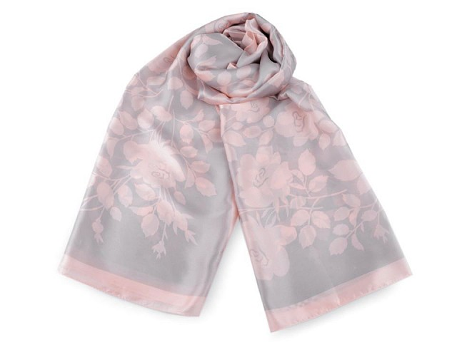 Saténový šátek / šála šípková růže 90x180 cm