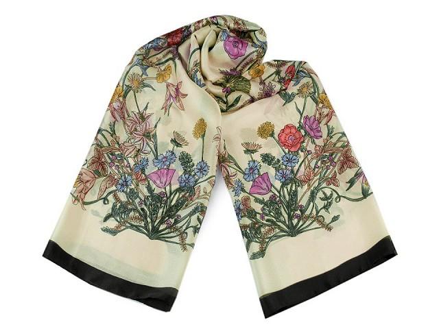 Saténový šátek / šála s lučními květy 90x180 cm