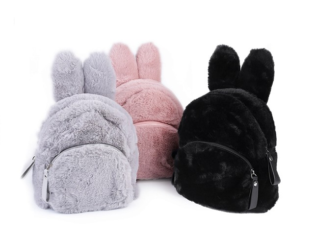 Dievčenský kožušinový batoh zajac