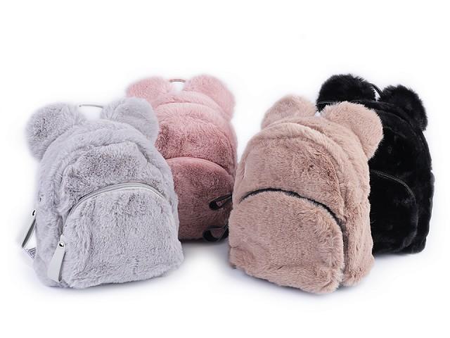 Dievčenský kožušinový batoh medvedík