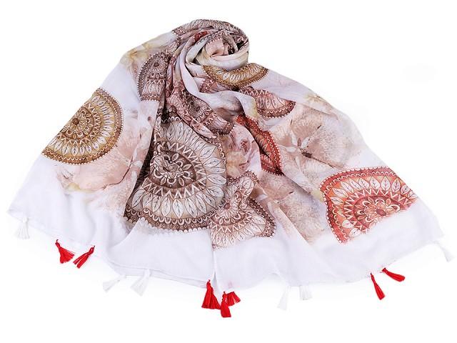 Šátek / šála mandala se střapci 90x180 cm