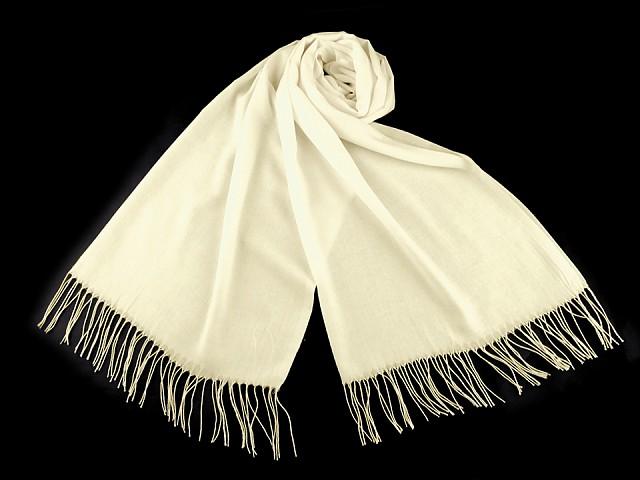 Šátek / šála jednobarevná s třásněmi 65x170 cm
