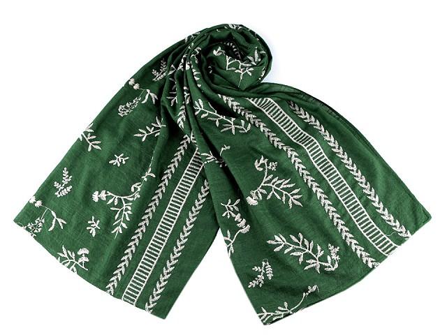 Šátek / šála vyšívané větvičky folklor 70x170 cm