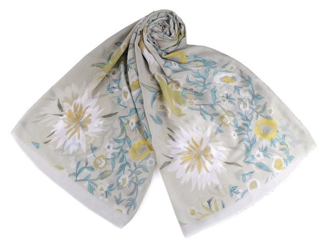 Šátek / šála květy 85x185 cm