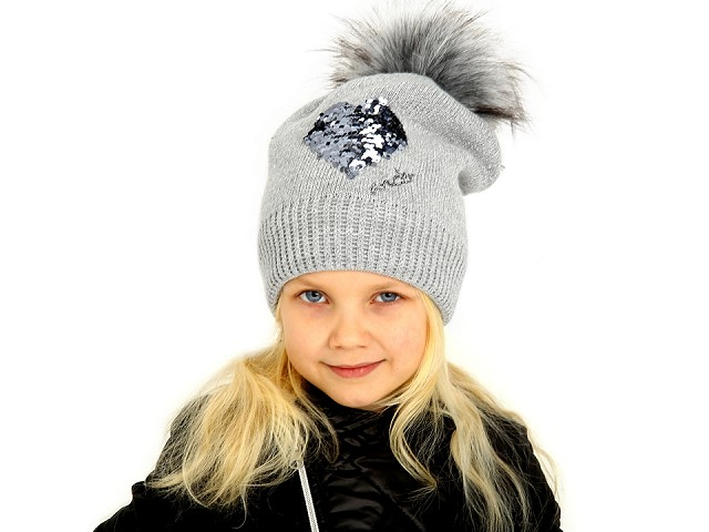 Dievčenská zimná čiapka s brmbolcom a meniacimi sa flitrami