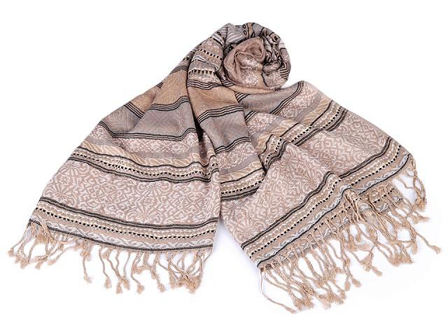 Šátek / šála typu pashmina s třásněmi 70x170 cm