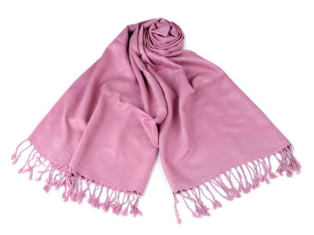 Šátek / šála typu pashmina s třásněmi 65x170 cm
