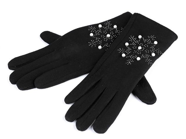 Dámské rukavice vločka s kamínky a perlami