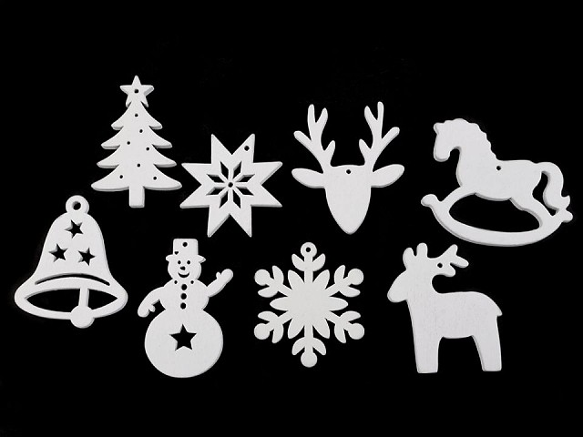 Dřevěné dekorace vánoční vločka, hvězda, stromeček, zvoneček, koník, sob k zavěšení / k nalepení