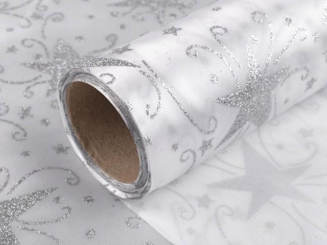 Vánoční satén jednostranný šíře 48 cm hvězda s glitry