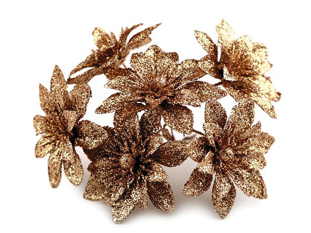 Vianočný kvet na drôtiku s glitremi