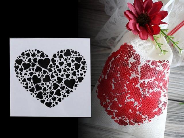 Plastová šablóna srdce, kvety, nápisy, ornamenty 13x13 cm