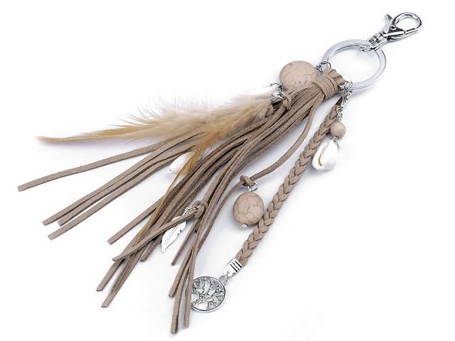 Prívesok na kabelku / kľúče - pierko, strom života