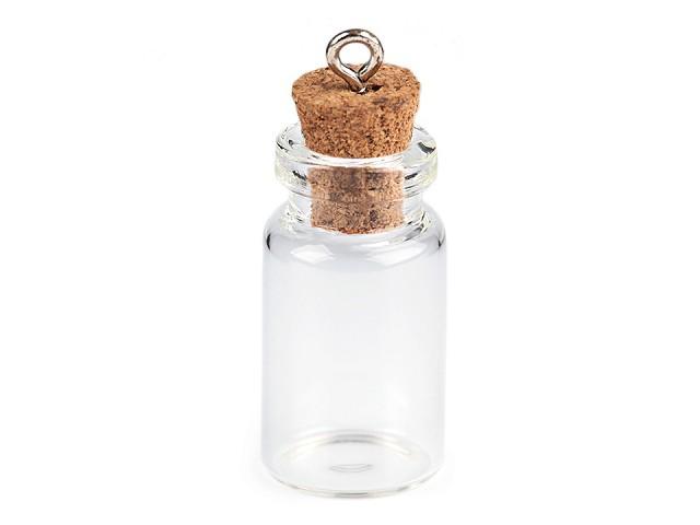 Skleněný přívěsek lahvička s korkem 13x30 mm