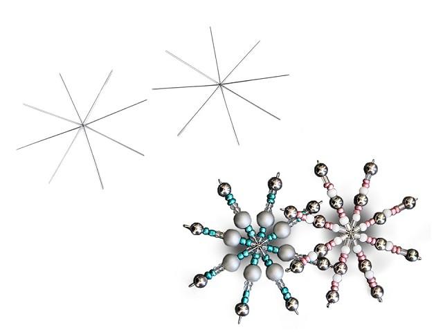 Hvězda / vánoční vločka drátová šablona Ø9 cm