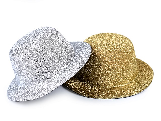 Mini klobouček /  fascinátor s lurexem k dozdobení Ø13,5 cm
