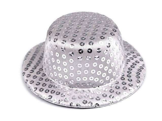Mini klobúčik /  fascinátor s flitrami na dozdobenie Ø13,5 cm
