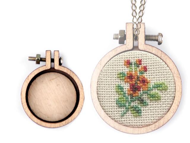 Mini drevený rámček / prívesok na vyšívanie srdce, ovál, kruh