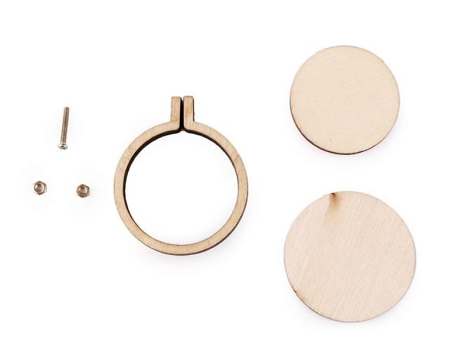 Malý dřevěný rámeček / přívěsek na vyšívání ovál, kruh