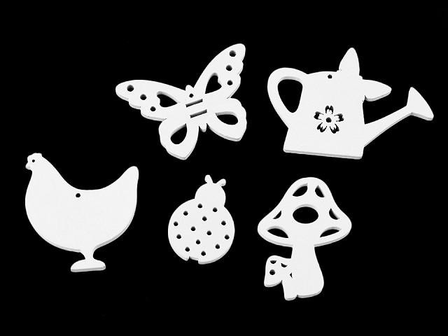 Dřevěný ptáček, motýl, beruška, muchomůrka, konvička k zavěšení / k nalepení / k domalování