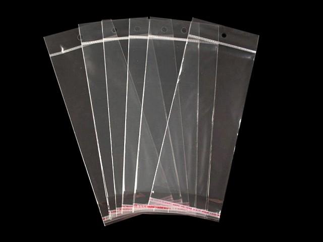 Celofánové sáčky s lepaicou lištou a závesom 8x19,5 cm