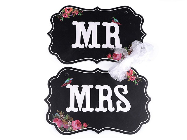 Svadobné ceduľky MR a MRS na zavesenie
