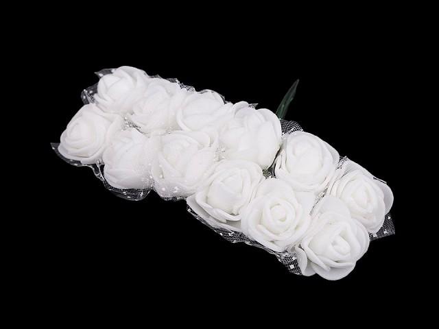 Ruže na drôtiku / polotovar na výväzky s tylom Ø25 mm