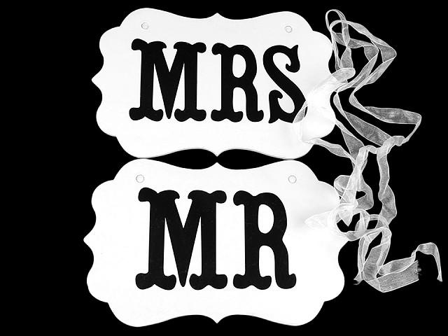 Svadobné ceduľky MR a MRS na zavesenie 2. akosť