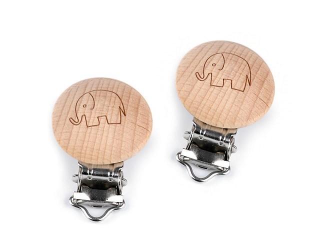 Dětský klip dřevěný šíře 13 mm slon, hvězda, smajlík