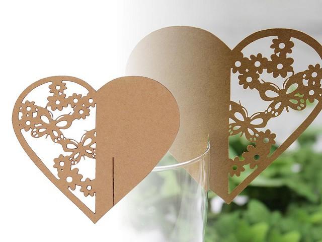 Jmenovka papírová na skleničky srdce natural, perleťová