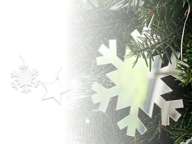 Vánoční zrcadlová hvězda a vločka k zavěšení