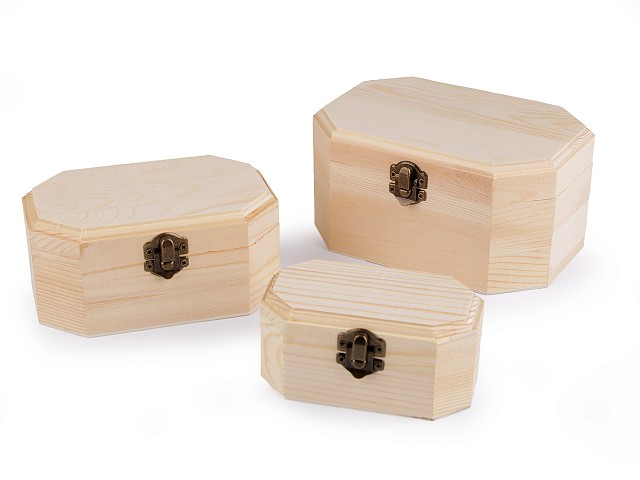 Dřevěná krabička k dozdobení sada 3 ks
