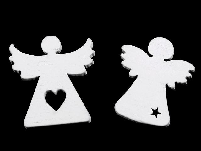 Dřevěný anděl k nalepení / aranžování, vánoční