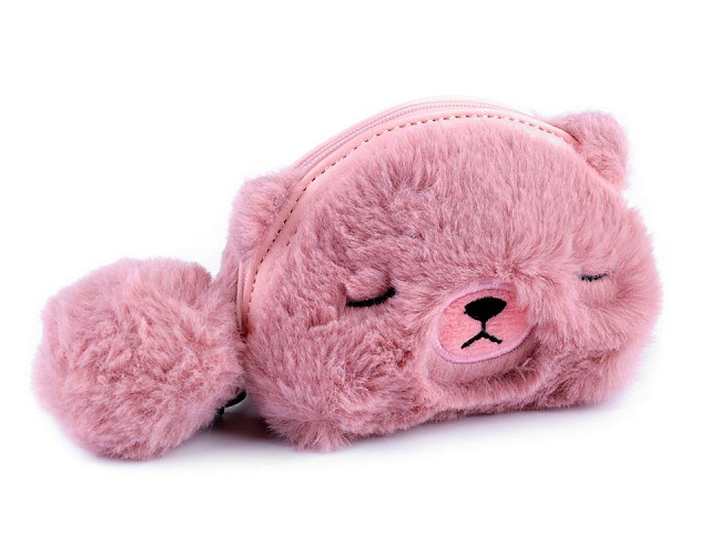 Dětská kožešinová peněženka / pouzdro medvídek 9x12 cm