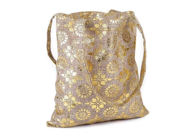 Darčeková taška s ornamentami 20x21,5 cm imitácia juty