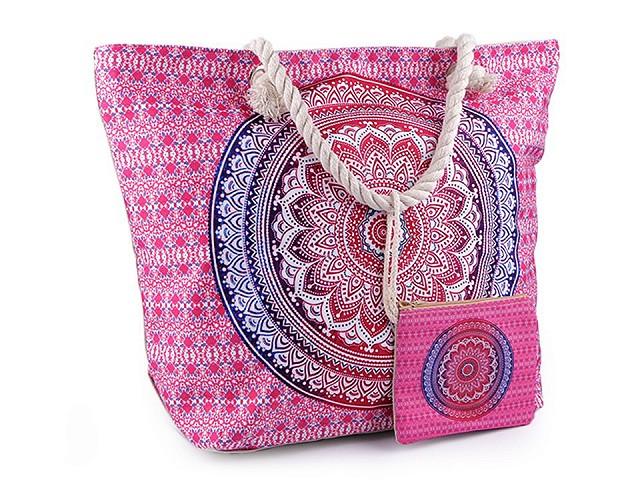Letní / plážová taška mandala, paisley s taštičkou 39x50 cm