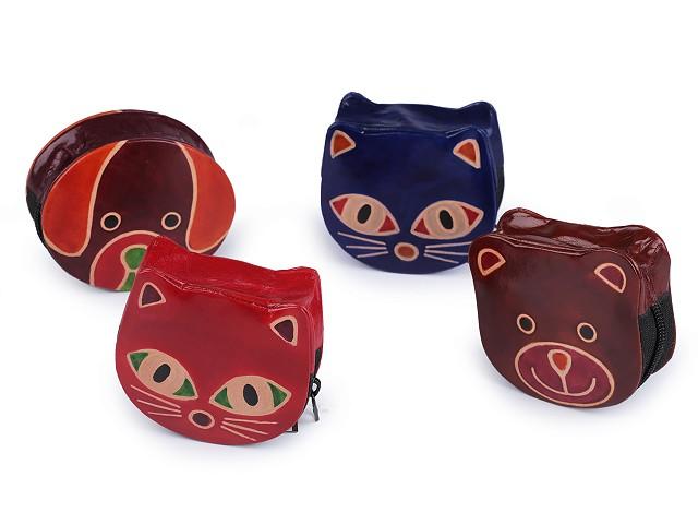 Peňaženka kožená / mincovka pes, mačka, medveď