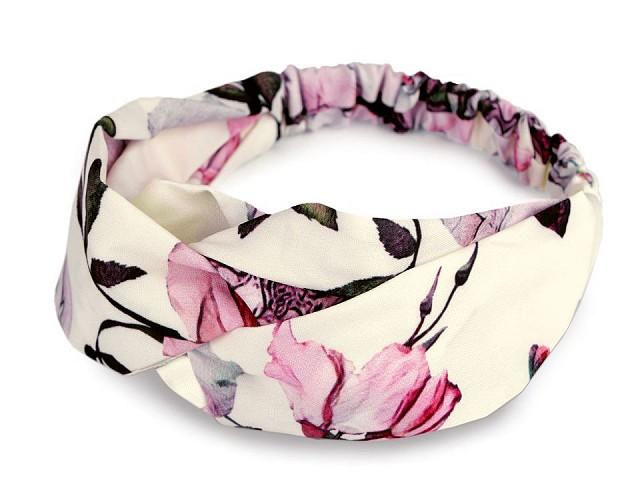 Látková čelenka pin-up prekrížená s kvetmi ruže