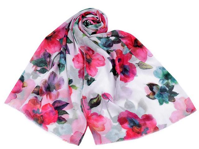 Šátek / šála květy 70x180 cm