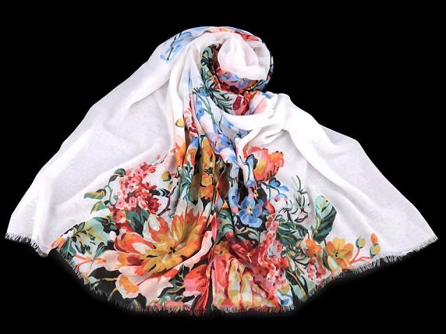 Šátek / šála folklór květy 90x180 cm