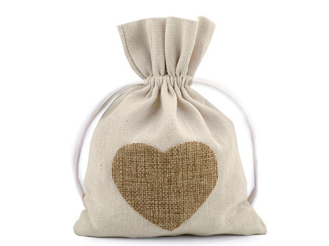 Bavlnené vrecká srdce 13x18 cm