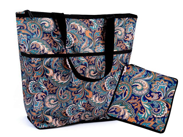 Skladacia nákupná taška so zipsom pevná 38x44 cm
