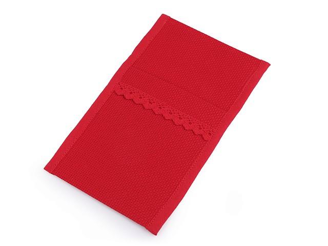 Kapsa na příbory s paličkovanou krajkou 12x21 cm vánoční