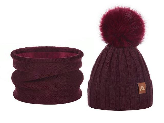 Dámska / dievčenská zimná sada čiapka s brmbolcom a nákrčník